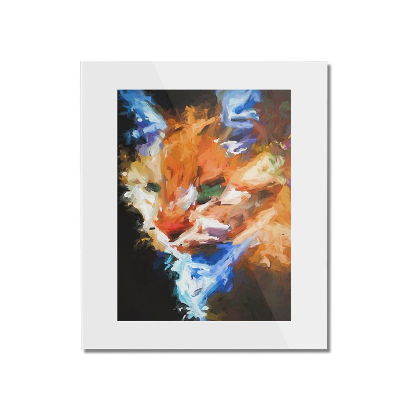 The Orange Cat in Light and Shadow Home Mounted Acrylic Print by jackievano's Artist Shop