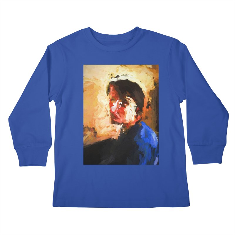 The Man in the Blue Shirt in Light and Shadow Kids Longsleeve T-Shirt by jackievano's Artist Shop