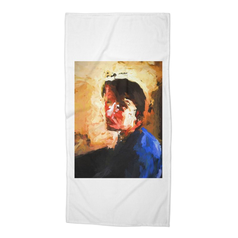 The Man in the Blue Shirt in Light and Shadow Accessories Beach Towel by jackievano's Artist Shop