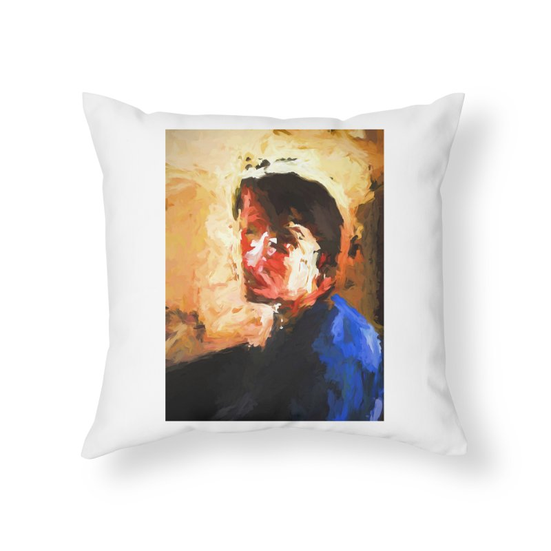 The Man in the Blue Shirt in Light and Shadow Home Throw Pillow by jackievano's Artist Shop