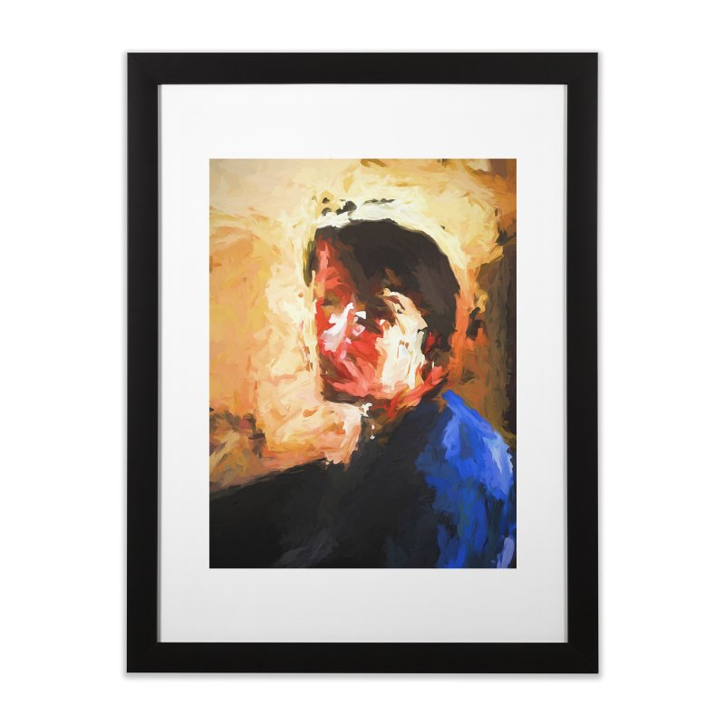 The Man in the Blue Shirt in Light and Shadow Home Framed Fine Art Print by jackievano's Artist Shop