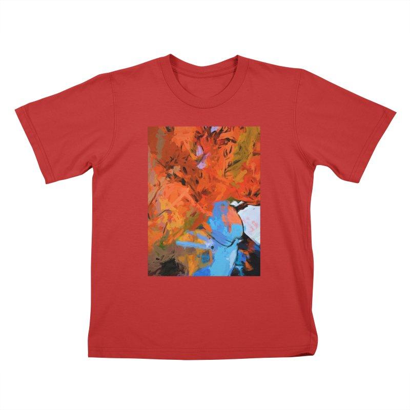 Lily Love Expression Splash Orange Blue Kids T-Shirt by jackievano's Artist Shop