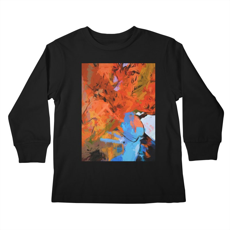 Lily Love Expression Splash Orange Blue Kids Longsleeve T-Shirt by jackievano's Artist Shop