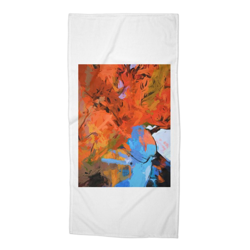 Lily Love Expression Splash Orange Blue Accessories Beach Towel by jackievano's Artist Shop