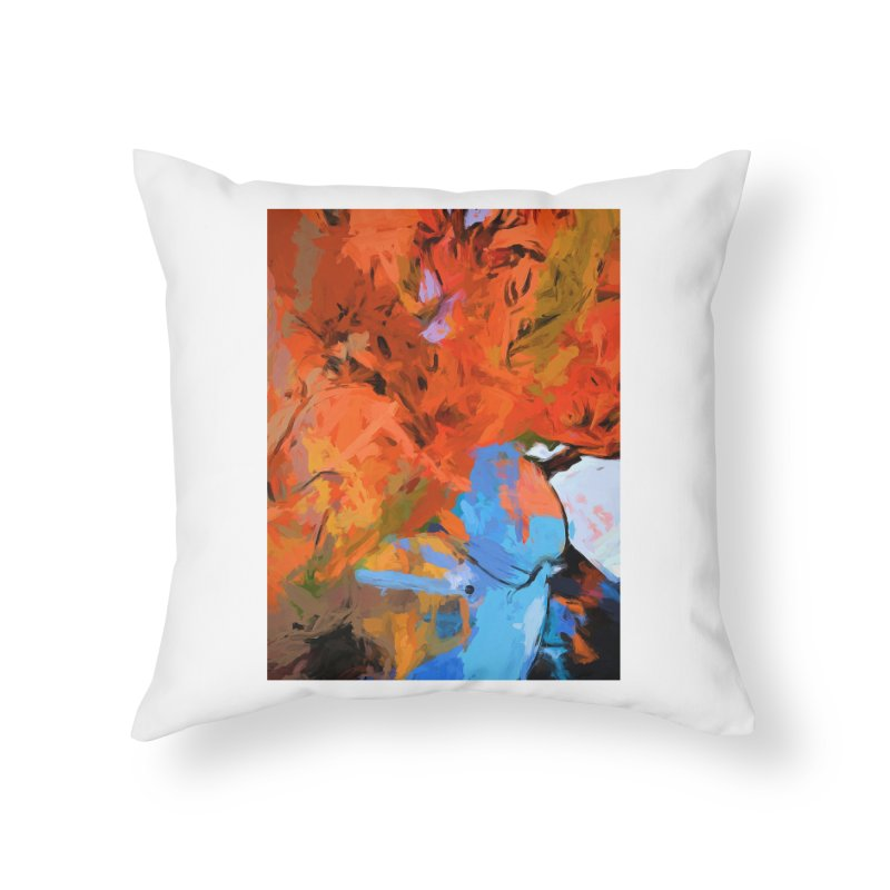 Lily Love Expression Splash Orange Blue Home Throw Pillow by jackievano's Artist Shop
