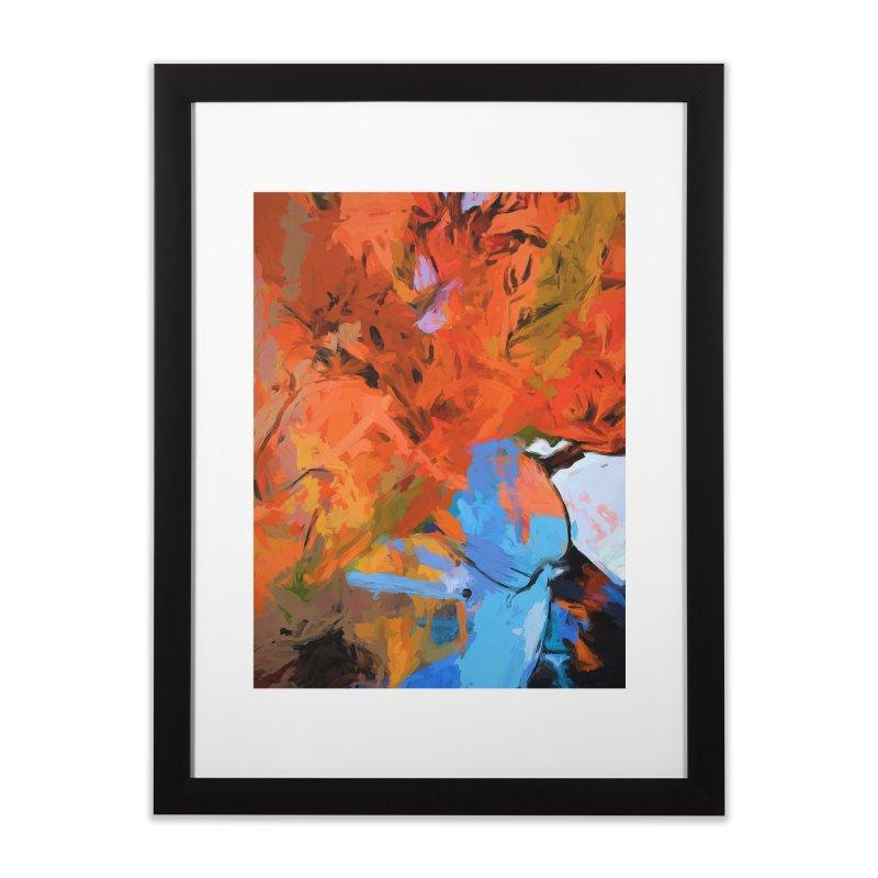 Lily Love Expression Splash Orange Blue Home Framed Fine Art Print by jackievano's Artist Shop