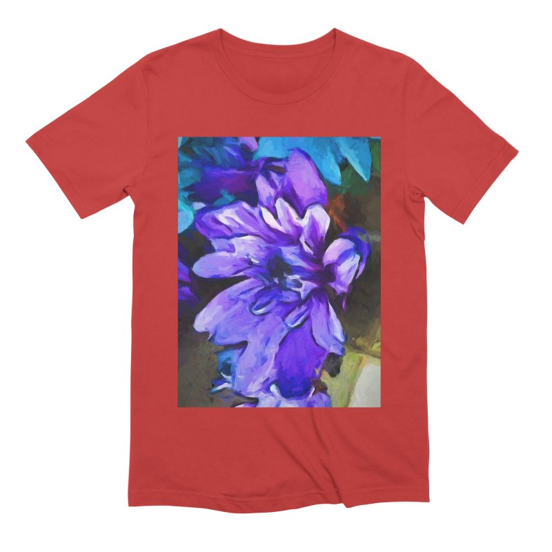 The Lavender and Cobalt Blue Flower Men's Extra Soft T-Shirt by jackievano's Artist Shop