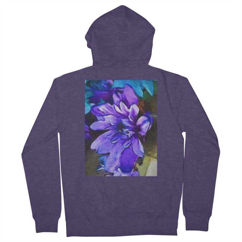 The Lavender and Cobalt Blue Flower Men's French Terry Zip-Up Hoody by jackievano's Artist Shop