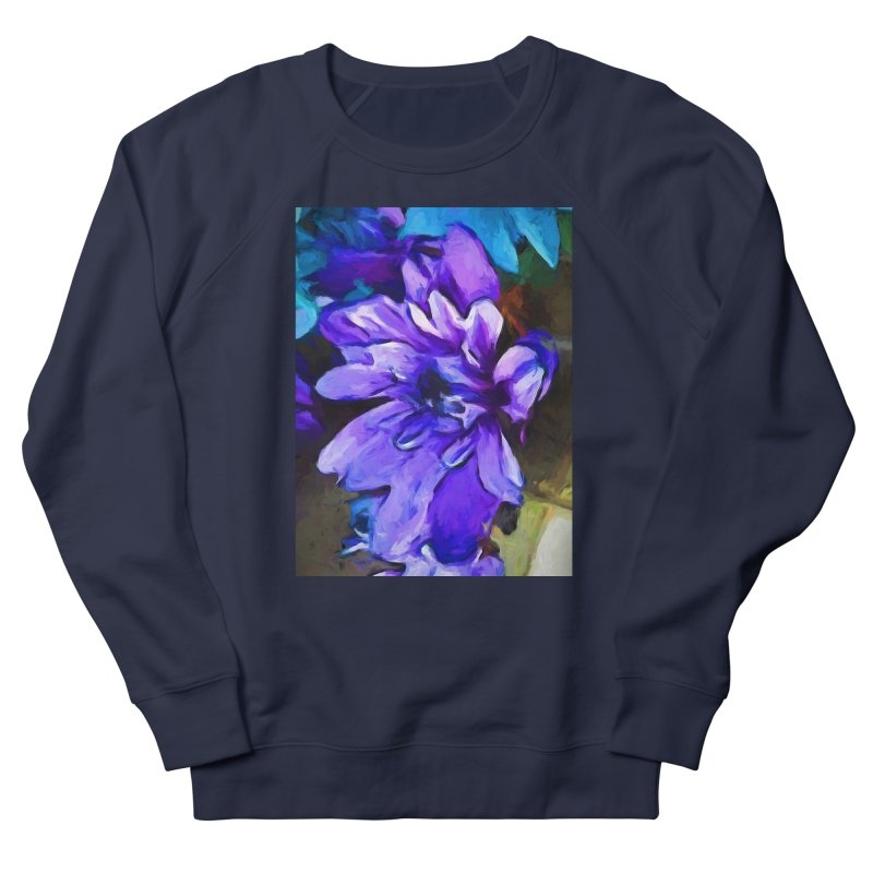 The Lavender and Cobalt Blue Flower Men's French Terry Sweatshirt by jackievano's Artist Shop