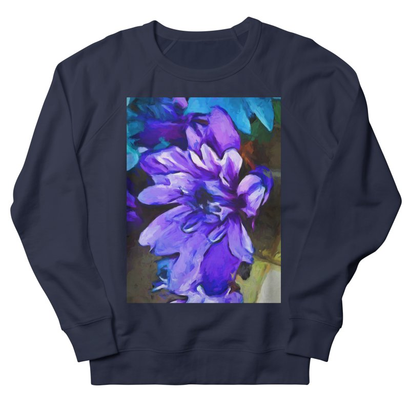 The Lavender and Cobalt Blue Flower Women's French Terry Sweatshirt by jackievano's Artist Shop