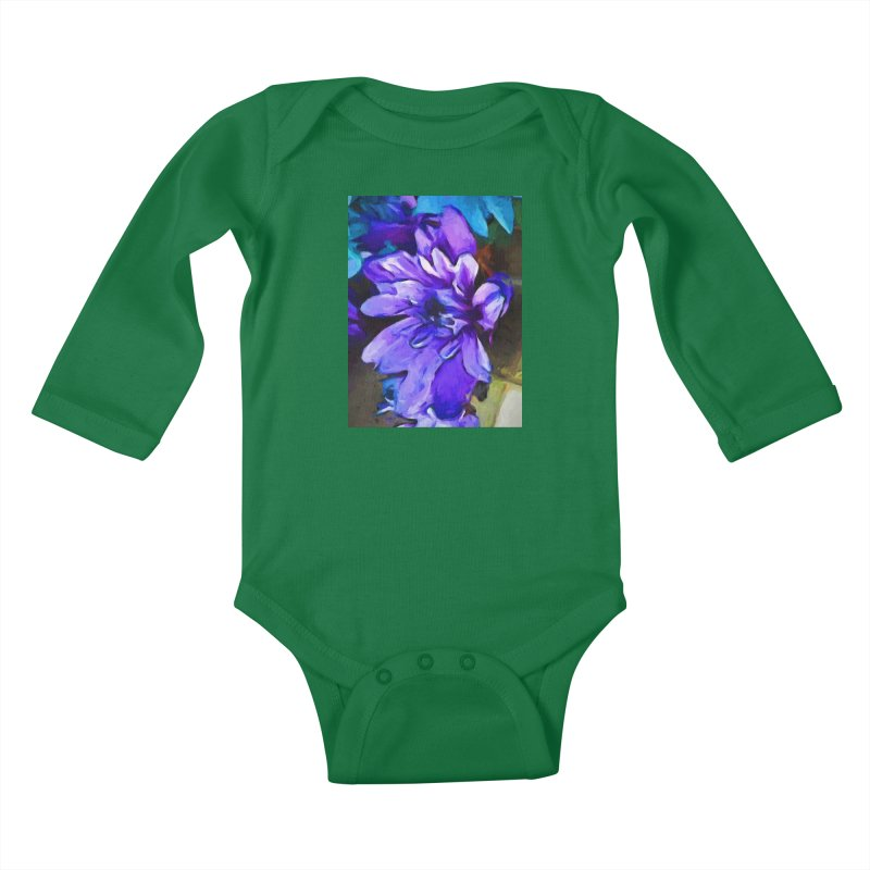 The Lavender and Cobalt Blue Flower Kids Baby Longsleeve Bodysuit by jackievano's Artist Shop