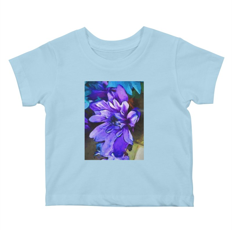 The Lavender and Cobalt Blue Flower Kids Baby T-Shirt by jackievano's Artist Shop