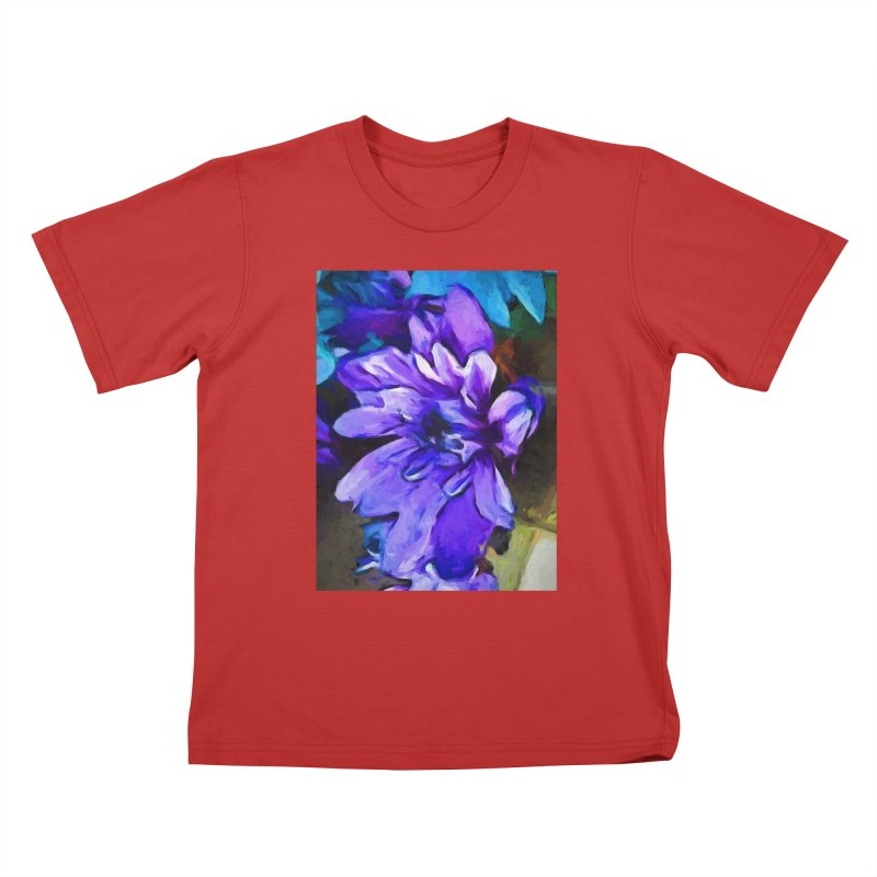 The Lavender and Cobalt Blue Flower Kids T-Shirt by jackievano's Artist Shop