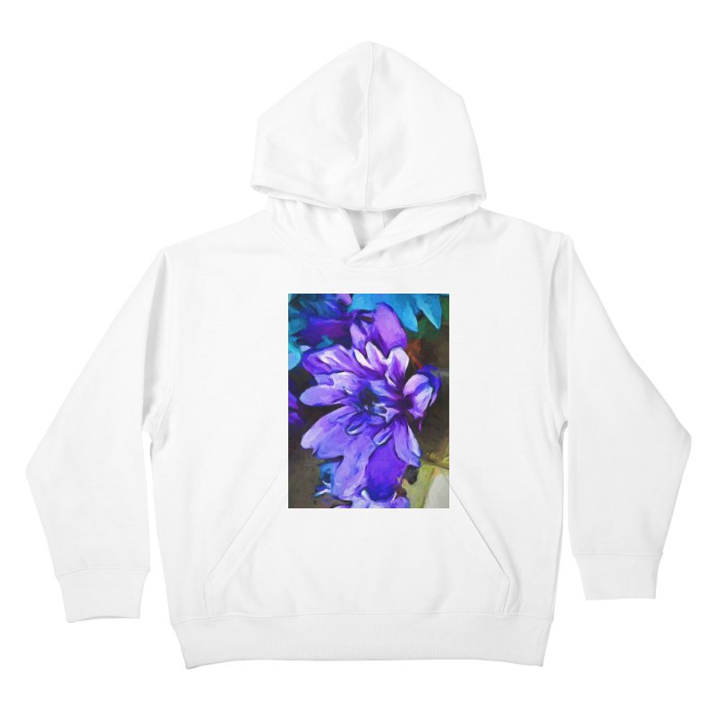The Lavender and Cobalt Blue Flower Kids Pullover Hoody by jackievano's Artist Shop