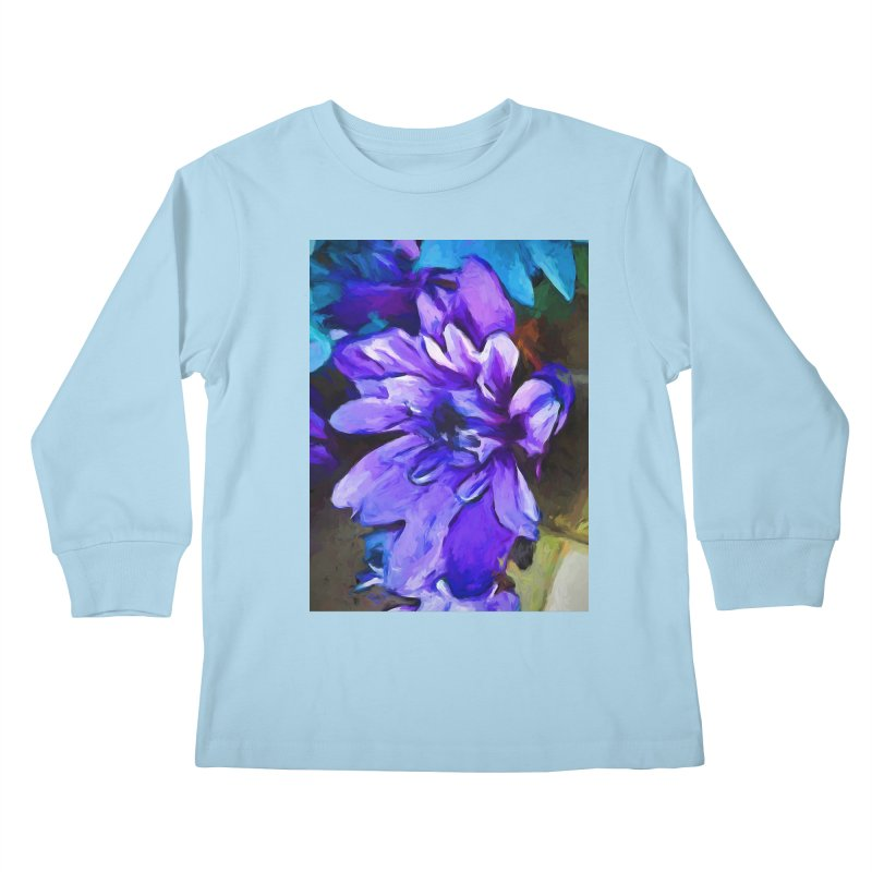 The Lavender and Cobalt Blue Flower Kids Longsleeve T-Shirt by jackievano's Artist Shop