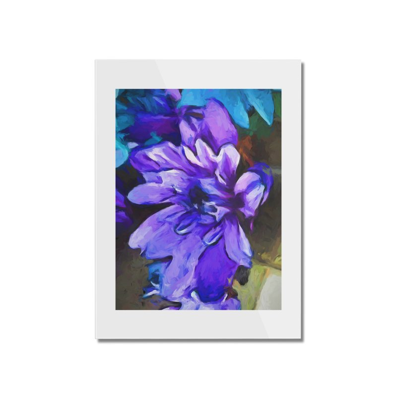 The Lavender and Cobalt Blue Flower Home Mounted Acrylic Print by jackievano's Artist Shop