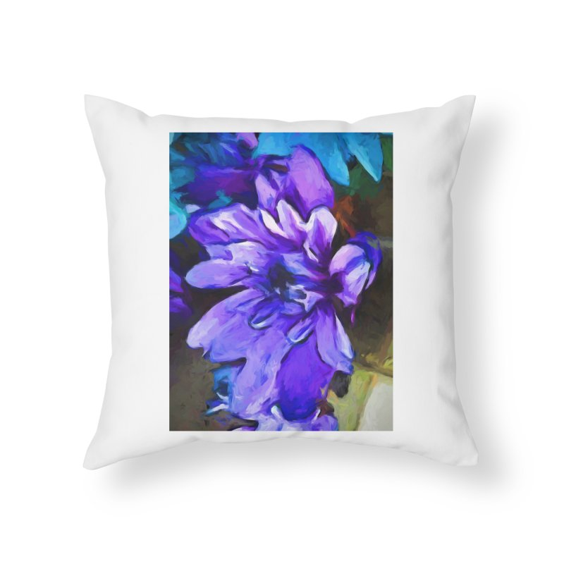 The Lavender and Cobalt Blue Flower Home Throw Pillow by jackievano's Artist Shop