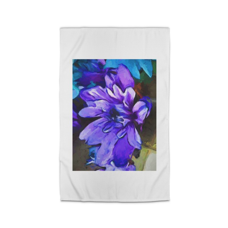 The Lavender and Cobalt Blue Flower Home Rug by jackievano's Artist Shop