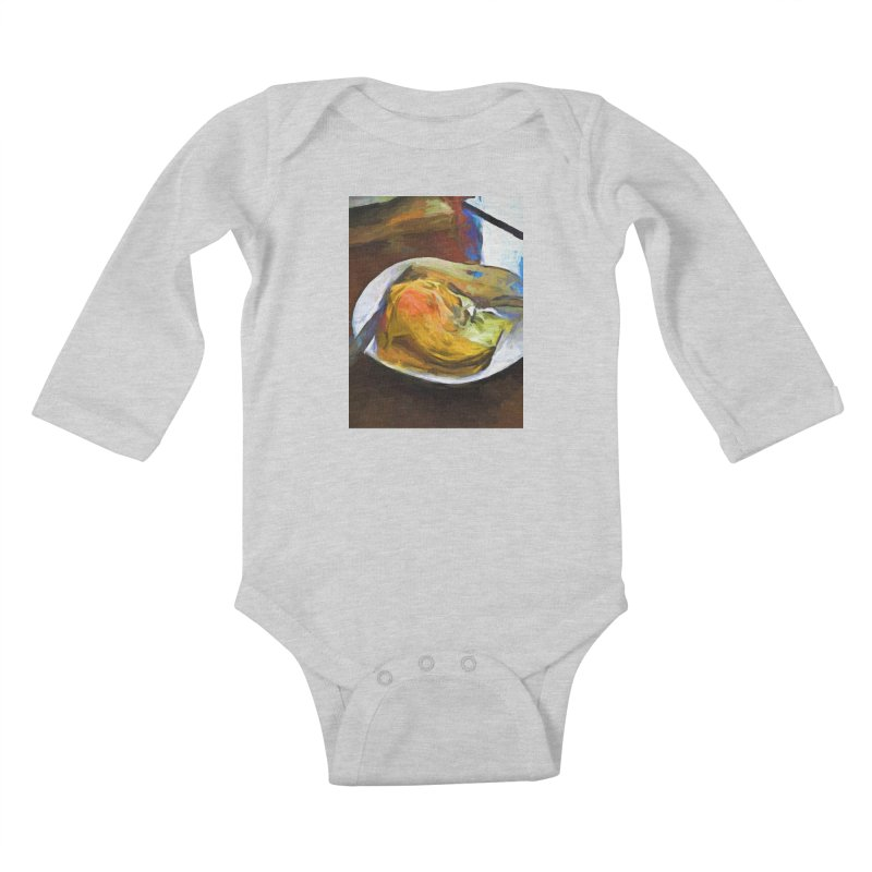 Fried Egg with Knife and Fork Kids Baby Longsleeve Bodysuit by jackievano's Artist Shop
