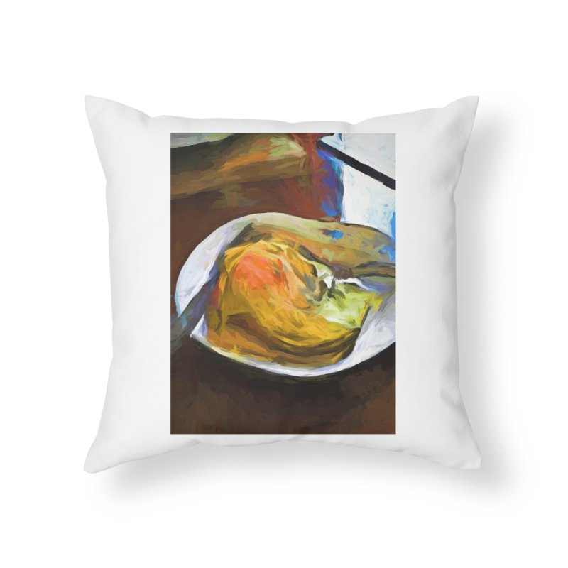 Fried Egg with Knife and Fork Home Throw Pillow by jackievano's Artist Shop