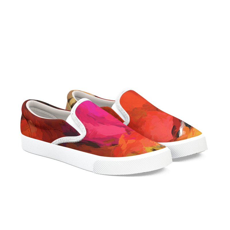 Red Pomegranate in the Yellow Light Men's Slip-On Shoes by jackievano's Artist Shop