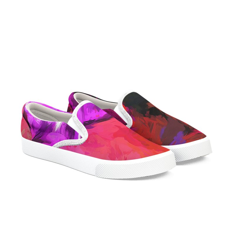 Purple and Yellow Flower and the Red Wall Men's Slip-On Shoes by jackievano's Artist Shop
