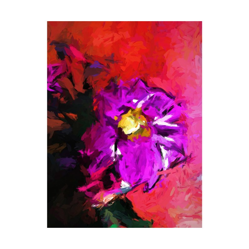 Purple and Yellow Flower and the Red Wall by jackievano's Artist Shop