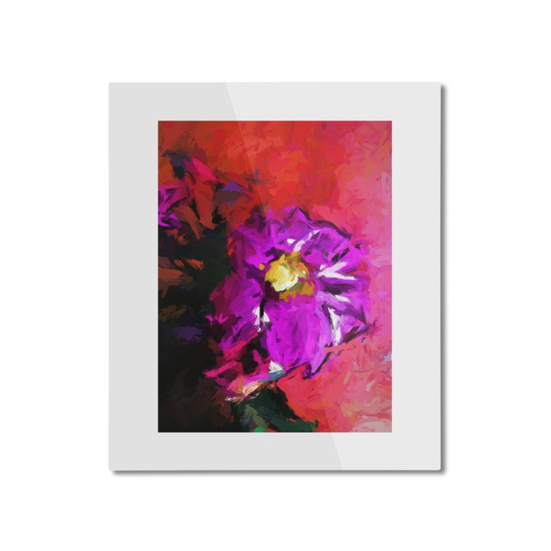 Purple and Yellow Flower and the Red Wall Home Mounted Aluminum Print by jackievano's Artist Shop