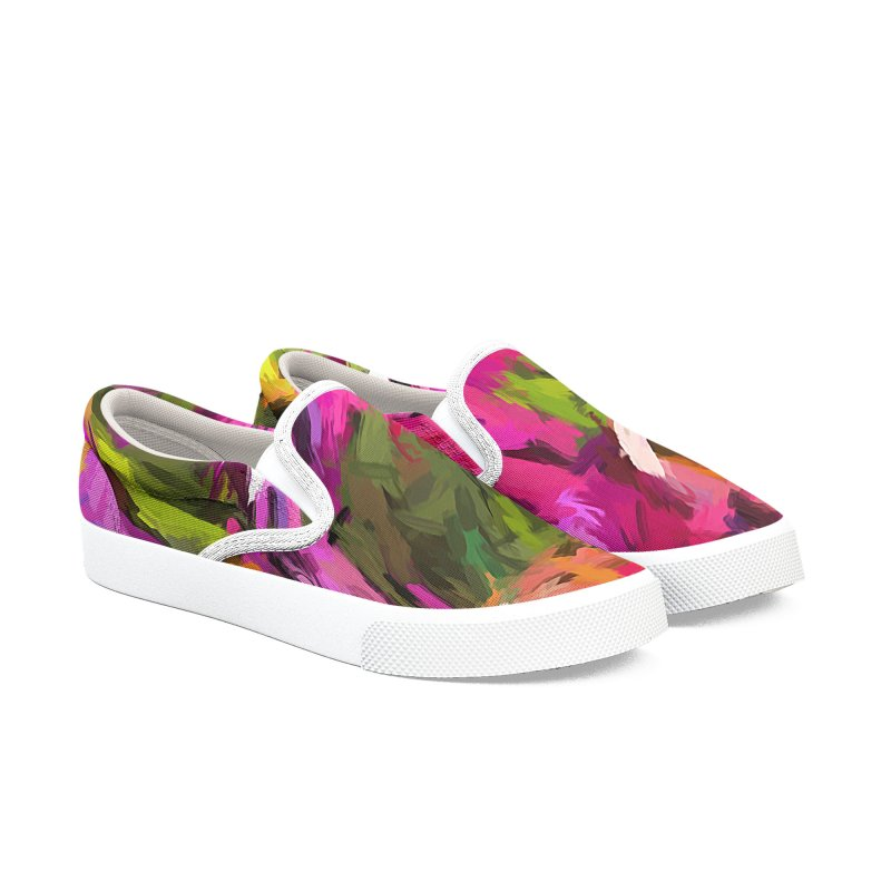 Lolly Pink Daisy Flower Men's Slip-On Shoes by jackievano's Artist Shop