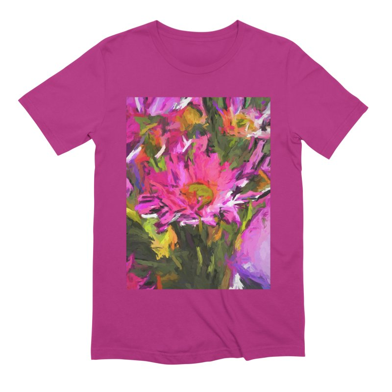 Lolly Pink Daisy Flower Men's Extra Soft T-Shirt by jackievano's Artist Shop