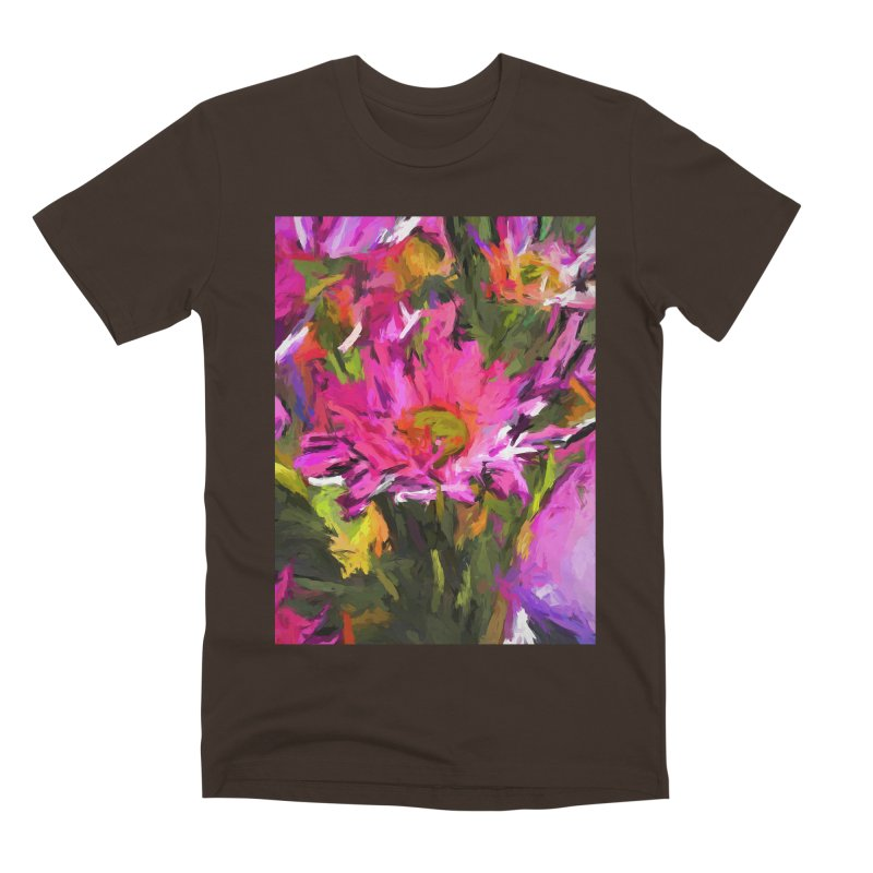Lolly Pink Daisy Flower Men's Premium T-Shirt by jackievano's Artist Shop