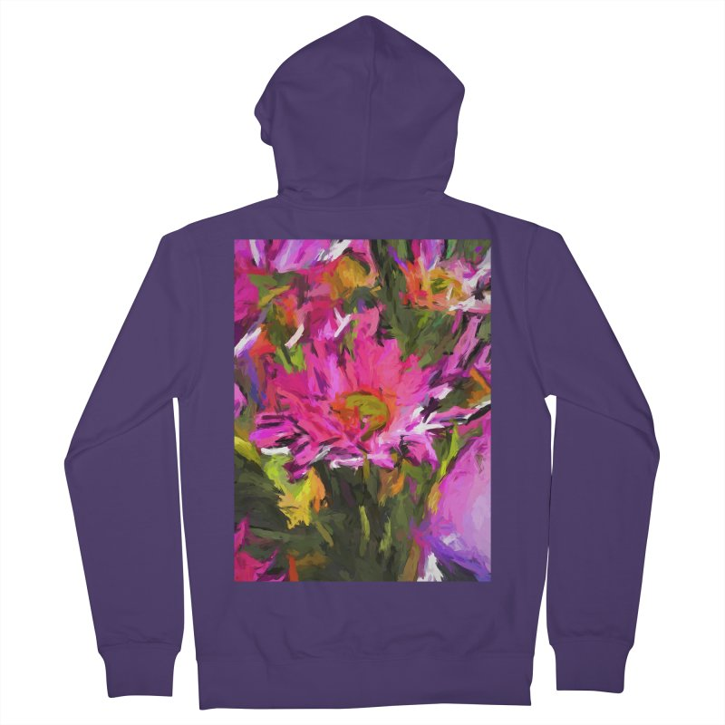 Lolly Pink Daisy Flower Women's French Terry Zip-Up Hoody by jackievano's Artist Shop