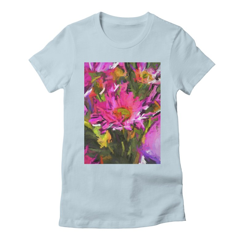 Lolly Pink Daisy Flower Women's Fitted T-Shirt by jackievano's Artist Shop
