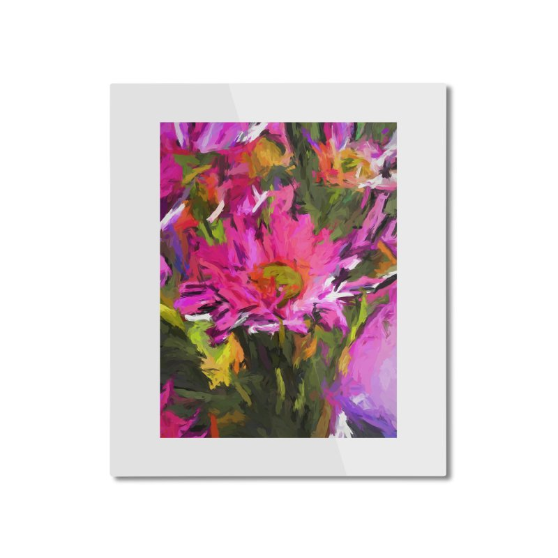Lolly Pink Daisy Flower Home Mounted Aluminum Print by jackievano's Artist Shop