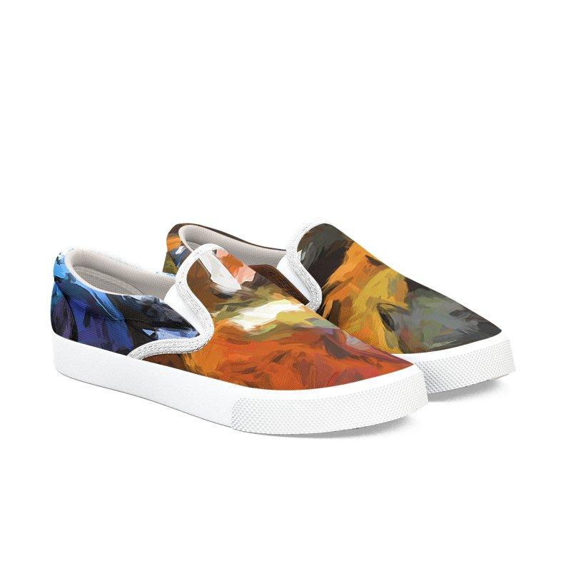 Cat Behind Cat in the Kitchen Men's Slip-On Shoes by jackievano's Artist Shop