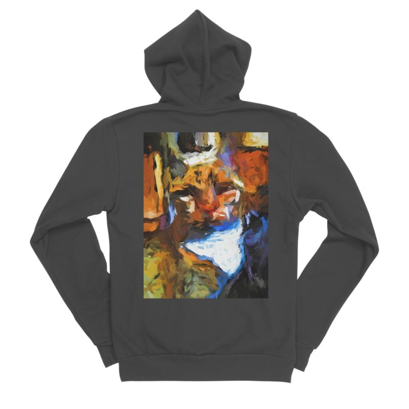 Cat Behind Cat in the Kitchen Women's Sponge Fleece Zip-Up Hoody by jackievano's Artist Shop
