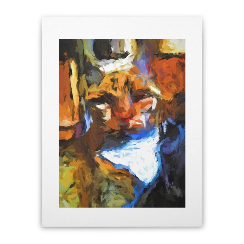 Cat Behind Cat in the Kitchen Home Stretched Canvas by jackievano's Artist Shop