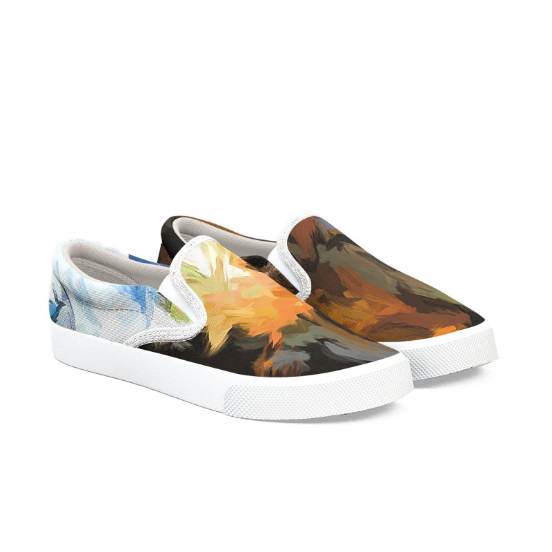 Cat with the Turned Head Men's Slip-On Shoes by jackievano's Artist Shop