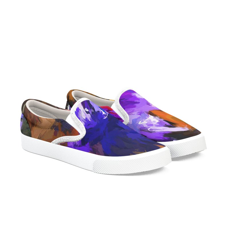 Lavender Flower and the Cobalt Blue Reflection Men's Slip-On Shoes by jackievano's Artist Shop