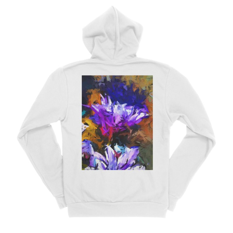 Lavender Flower and the Cobalt Blue Reflection Women's Sponge Fleece Zip-Up Hoody by jackievano's Artist Shop