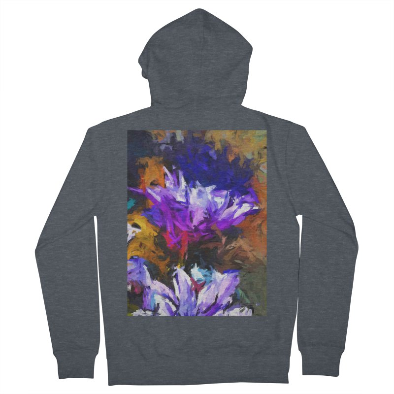 Lavender Flower and the Cobalt Blue Reflection Women's French Terry Zip-Up Hoody by jackievano's Artist Shop