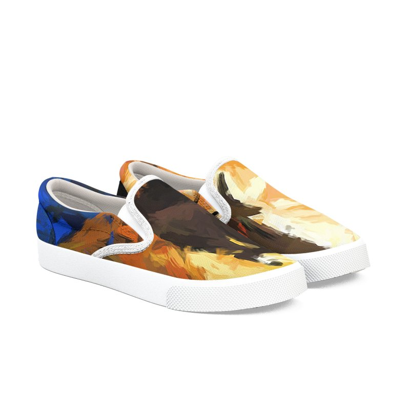 Man in the Cobalt Blue Shirt Men's Slip-On Shoes by jackievano's Artist Shop
