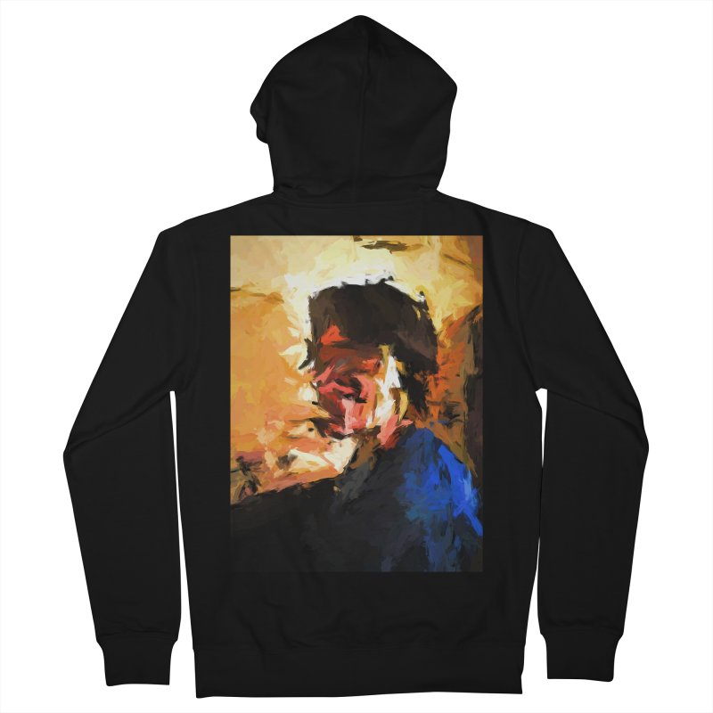Man in the Cobalt Blue Shirt Women's French Terry Zip-Up Hoody by jackievano's Artist Shop