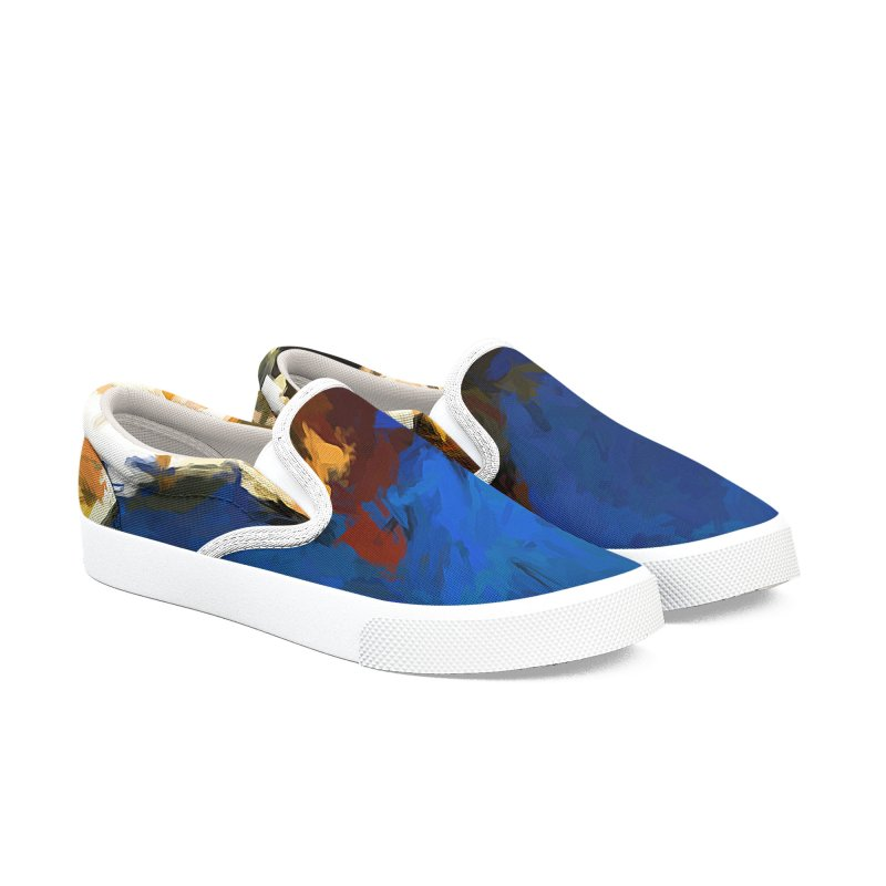 Cat and the Cobalt Blue Wall Men's Slip-On Shoes by jackievano's Artist Shop