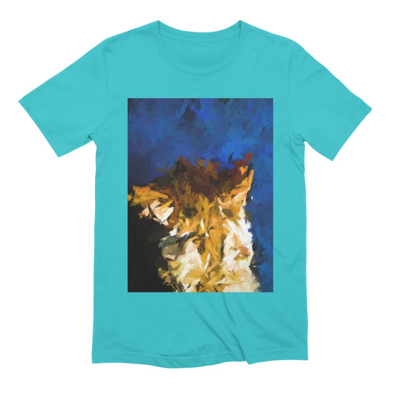 Cat and the Cobalt Blue Wall Men's Extra Soft T-Shirt by jackievano's Artist Shop