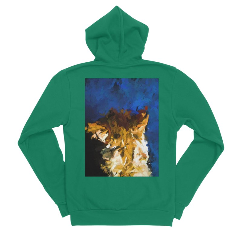 Cat and the Cobalt Blue Wall Women's Sponge Fleece Zip-Up Hoody by jackievano's Artist Shop