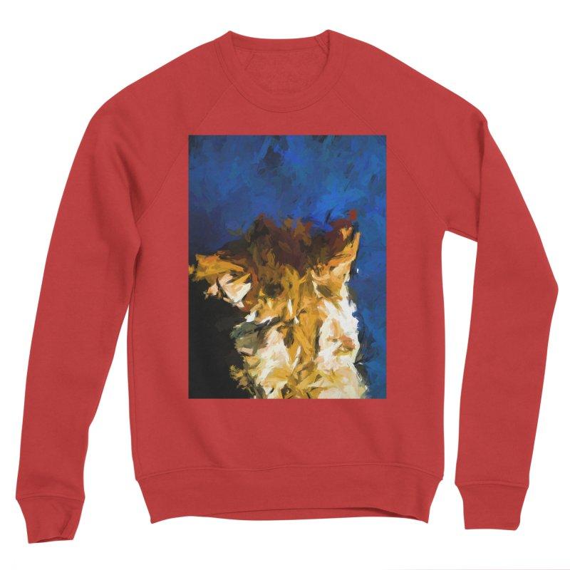 Cat and the Cobalt Blue Wall Men's Sponge Fleece Sweatshirt by jackievano's Artist Shop