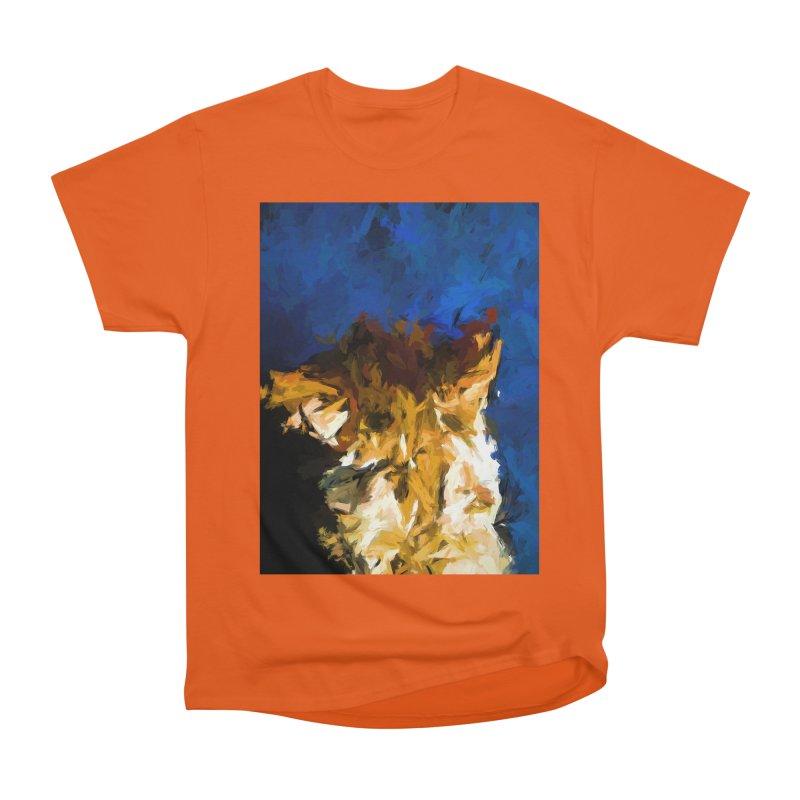 Cat and the Cobalt Blue Wall Women's Heavyweight Unisex T-Shirt by jackievano's Artist Shop