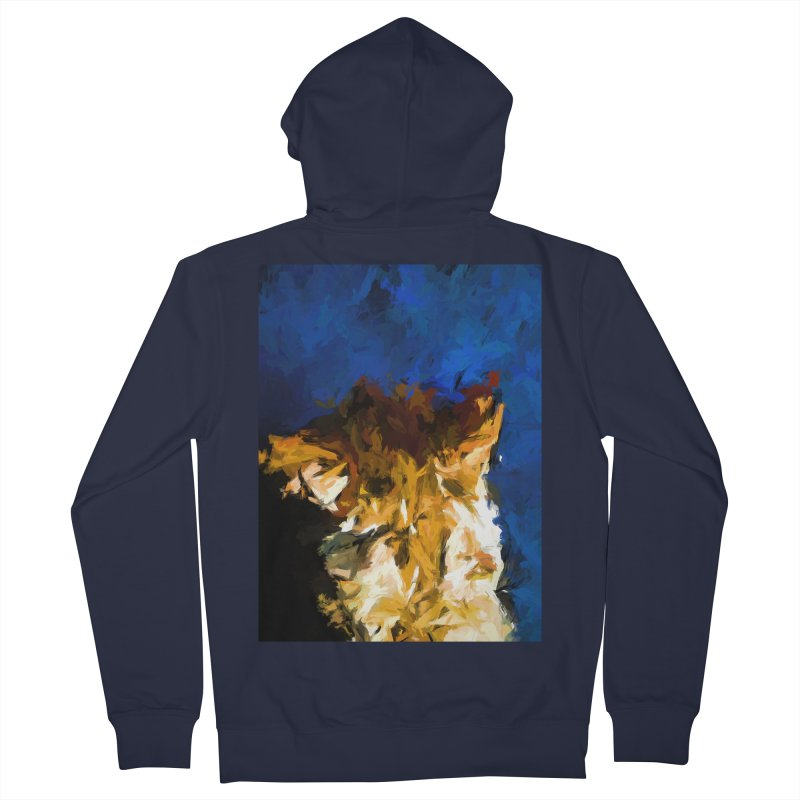 Cat and the Cobalt Blue Wall Women's French Terry Zip-Up Hoody by jackievano's Artist Shop