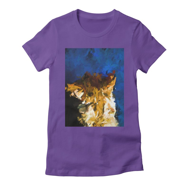 Cat and the Cobalt Blue Wall Women's Fitted T-Shirt by jackievano's Artist Shop